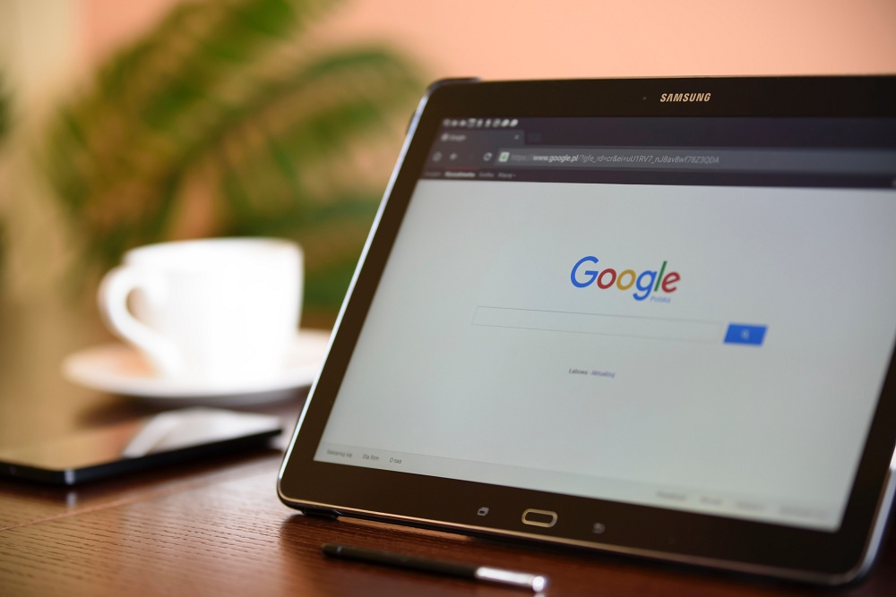 Google search on a tablet