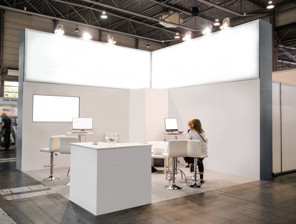 white themed trade booth
