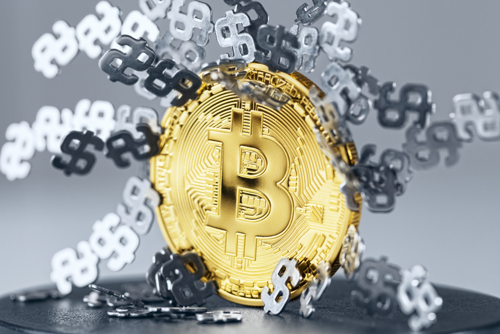 Dollar signs stuck gold Bitcoin