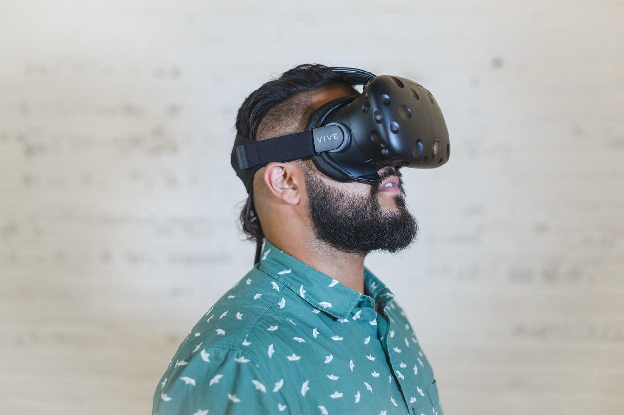 man wearing VR lens